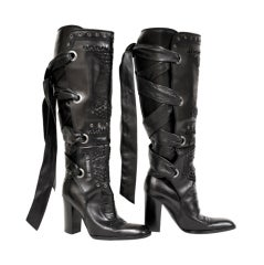 TOM FORD for YVES SAINT LAURENT BLACK LEATHER BOOTS