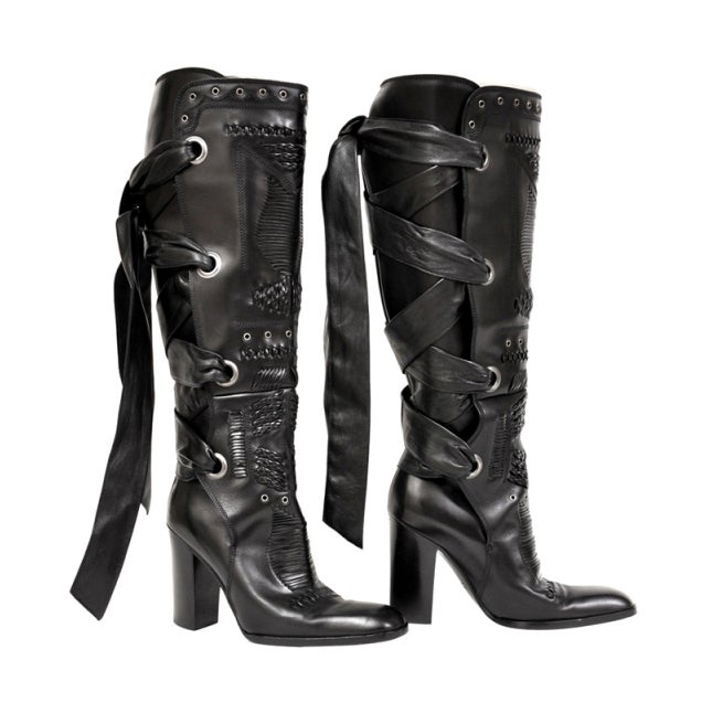 F/W 2001 TOM FORD for YVES SAINT LAURENT BLACK LEATHER BOOTS 35.5 1