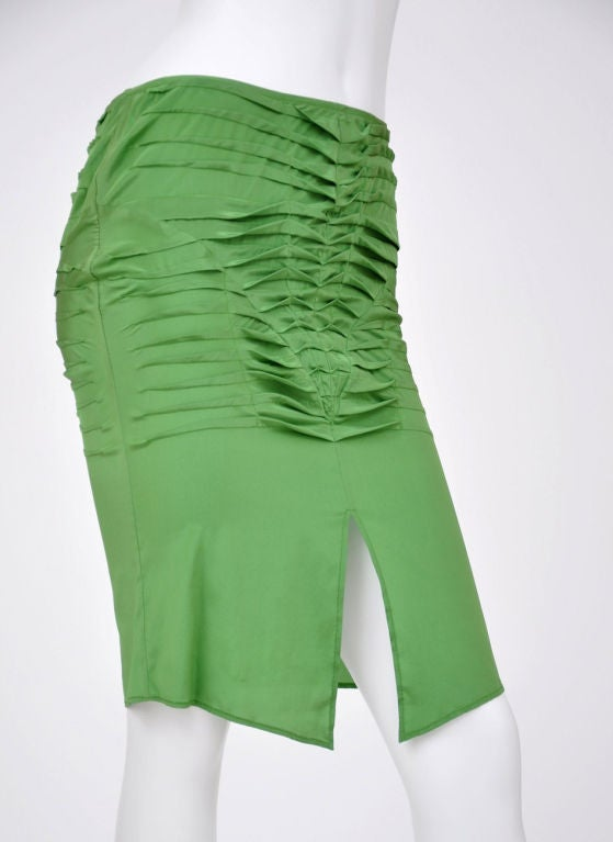 S/S 2004 Tom Ford for Gucci Green Silk Pleaded Skirt 42 - 6 New with tags! 2