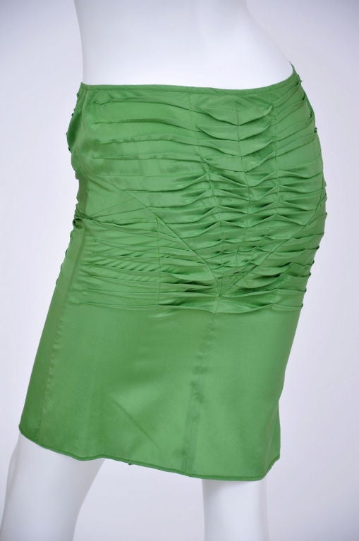 S/S 2004 Tom Ford for Gucci Green Silk Pleaded Skirt 42 - 6 New with tags! 3
