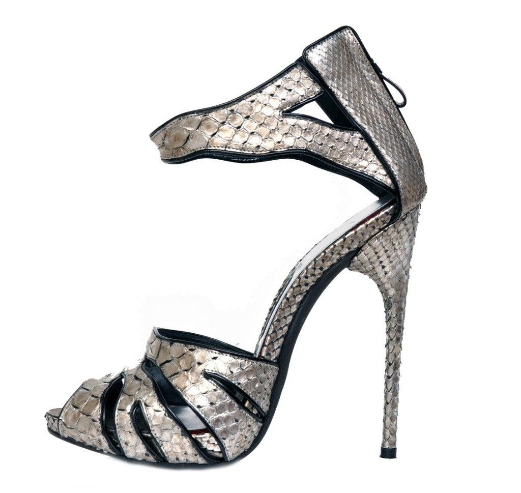 New Tom Ford Silver Python Platform Shoes 1