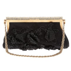 NEW VALENTINO BLACK BEADED EVENING CLUTCH BAG