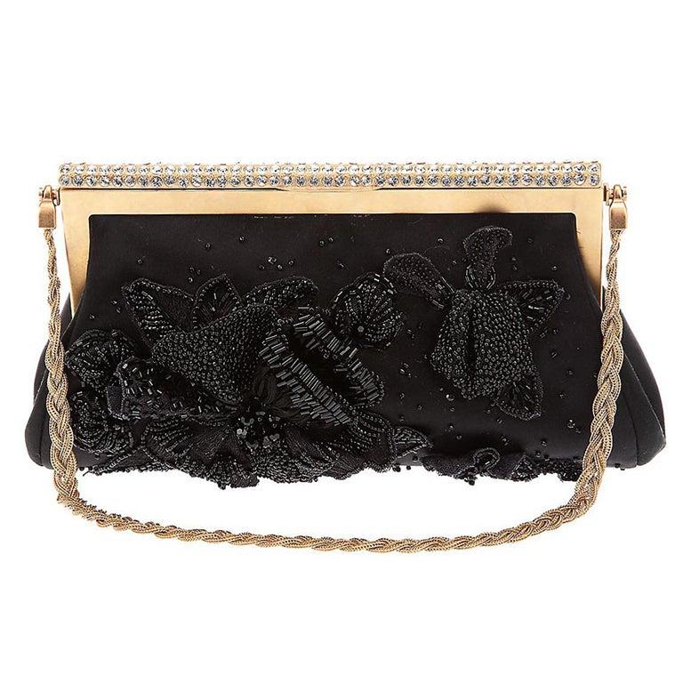 NEW VALENTINO BLACK BEADED EVENING CLUTCH BAG At 1stdibs