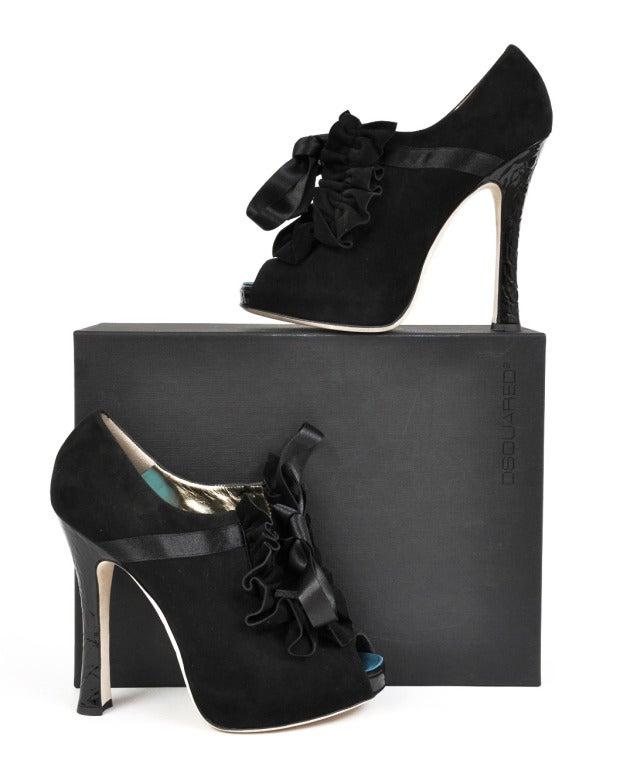 DSquared2 Frou Frou Camoscio Black Platform Shoes 9.5 4