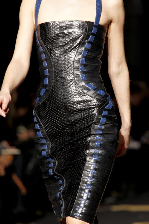New Versace Black Python Leather Dress In New never worn Condition For Sale In Montgomery, TX