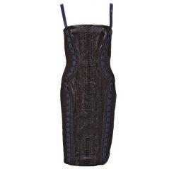 New Versace Black Python Leather Dress