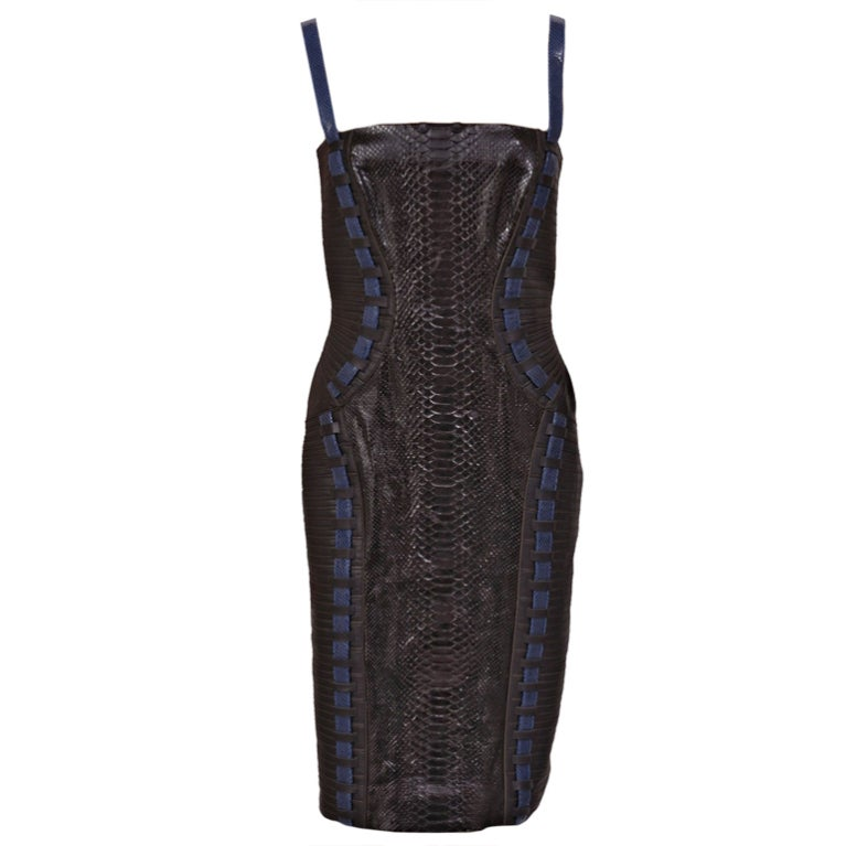 New Versace Black Python Leather Dress For Sale