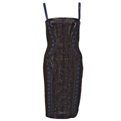 New Versace Black Python Leather Dress 38 - 2, 42 - 6