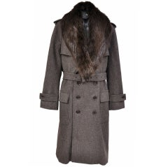 New TOM FORD BROWN WOOL DOUBLE BREASTED COAT with BEAVER FUR