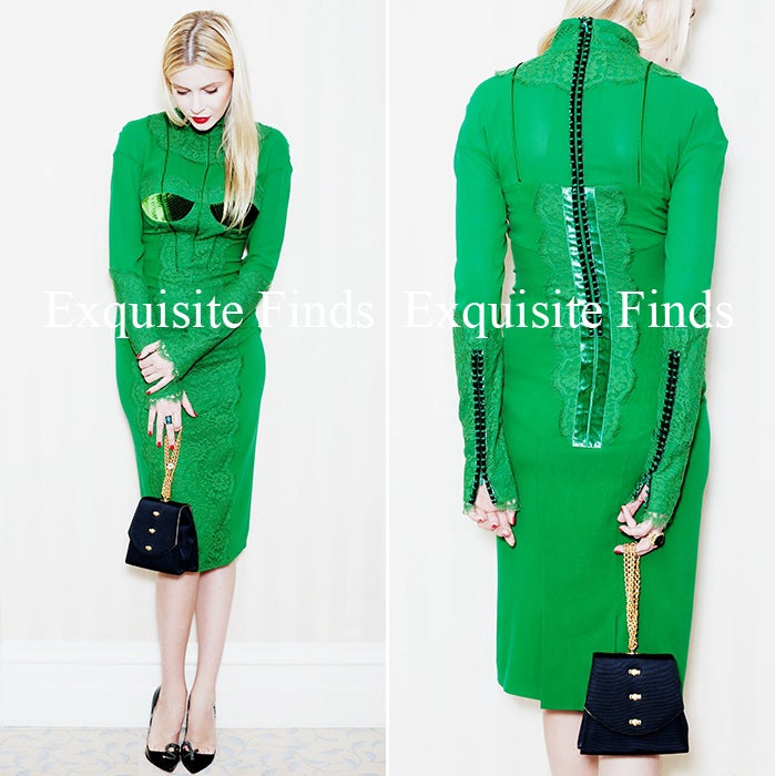 New TOM FORD EMERALD GREEN APPLIQUE LACE COCKTAIL DRESS For Sale 1