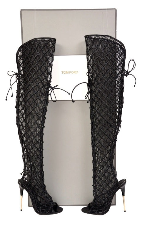 NEW TOM FORD ULTRA RARE FISHNET OVER THE KNEE BOOTS 2