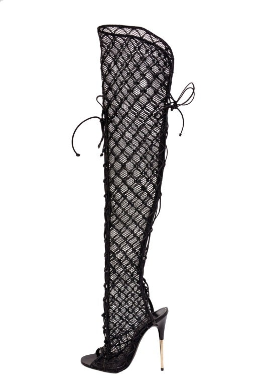 NEW TOM FORD ULTRA RARE FISHNET OVER THE KNEE BOOTS 3