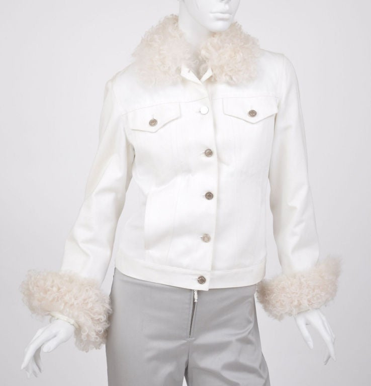Tom Ford for Gucci White Denim and Lamb Fur Jacket For Sale at 1stdibs