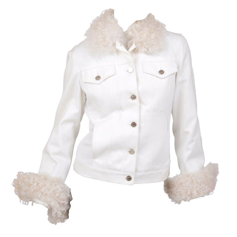 Tom Ford for Gucci White Denim and Lamb Fur Jacket 1