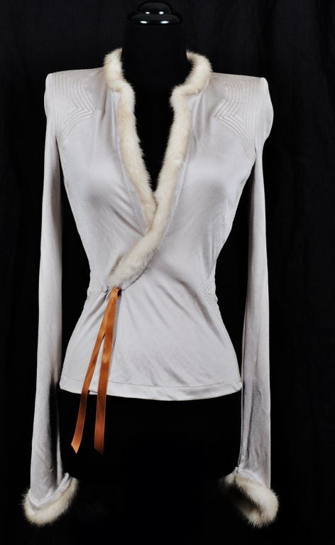 Tom Ford for Yves Saint Laurent Nude Jacket with Mink Fur 2