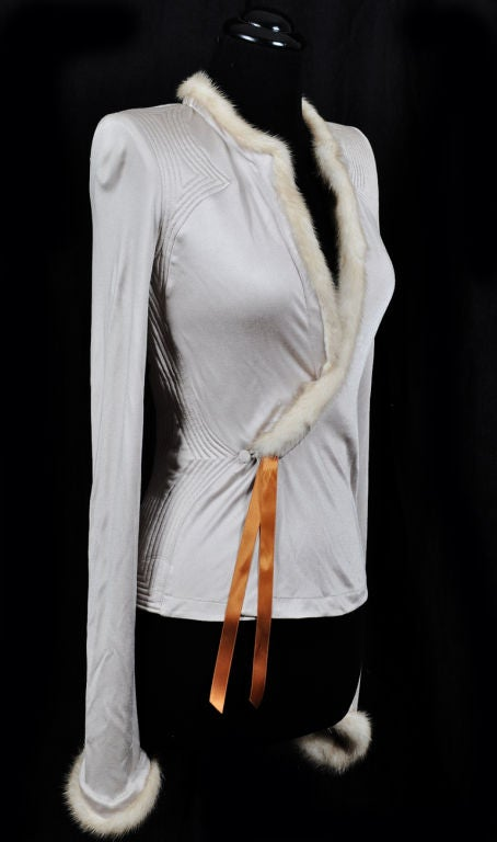 Tom Ford for Yves Saint Laurent Nude Jacket with Mink Fur 3