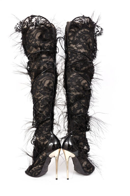 Tom Ford Ultra Rare Lace Feather Over The Knee Boots 5