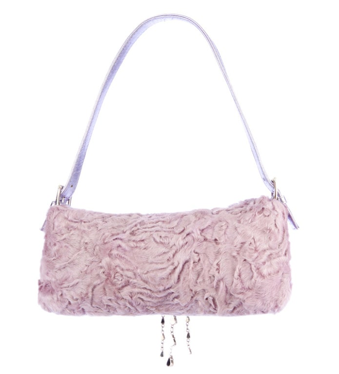 Gray Valentino Lilac Broadtail Fur Baguette with Crystals  For Sale