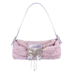 Valentino Lilac Broadtail Fur Baguette with Crystals