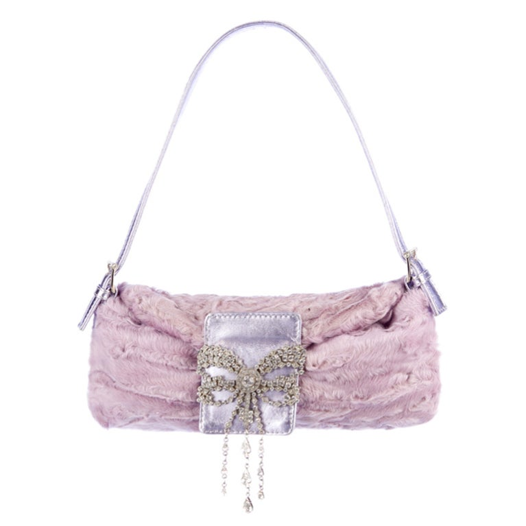 Valentino Lilac Broadtail Fur Baguette with Crystals  For Sale