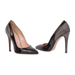 Versace Black Patent Leather pumps with Swarovski crystals 40