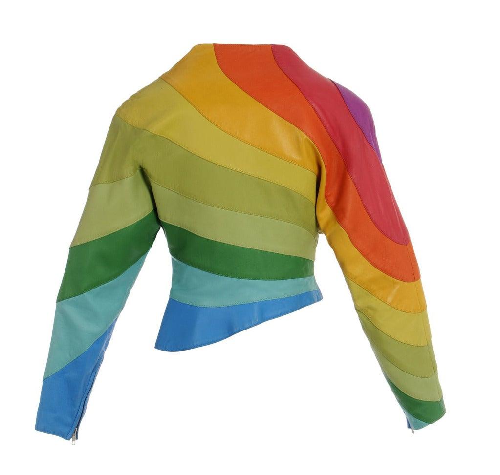 S/S 1990 Thierry Mugler Iconic Leather Rainbow Jacket image 2