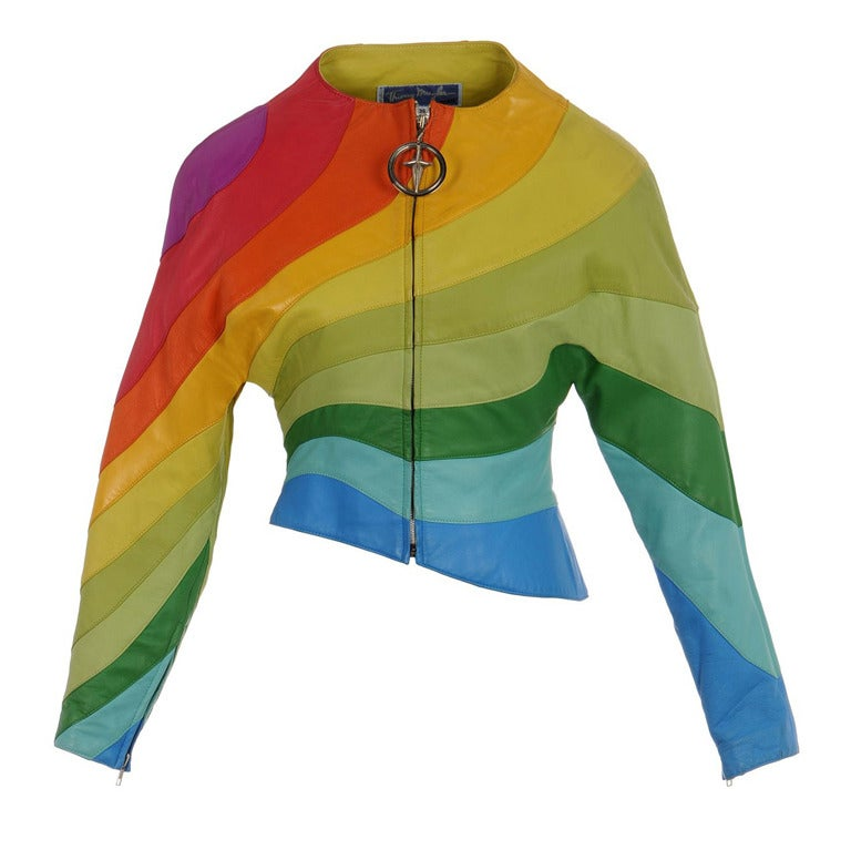 S/S 1990 Thierry Mugler Iconic Leather Rainbow Jacket