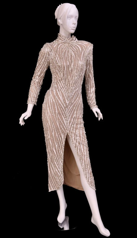 Bob Mackie Furniture 1980u0027s BOB MACKIE Nude Pearl Beaded Gown With TAGS!  For .