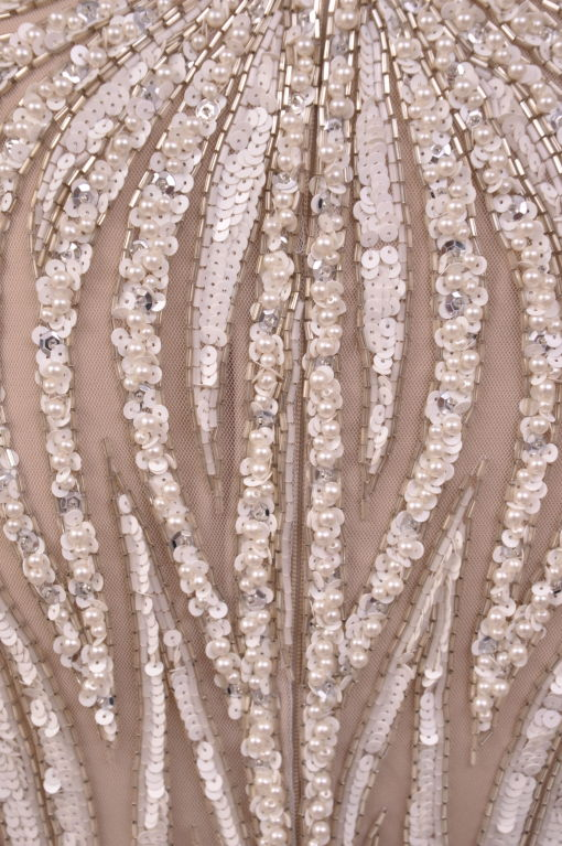 1980's BOB MACKIE Nude Pearl Beaded Gown with TAGS! In New never worn Condition For Sale In Montgomery, TX