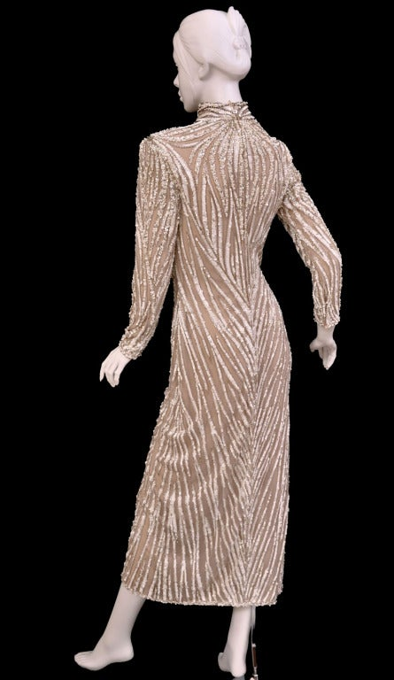 Women's 1980's BOB MACKIE Nude Pearl Beaded Gown with TAGS! For Sale