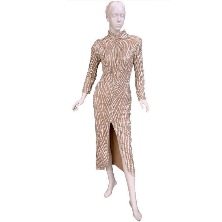 1980's BOB MACKIE Nude Pearl Beaded Gown with TAGS! For Sale