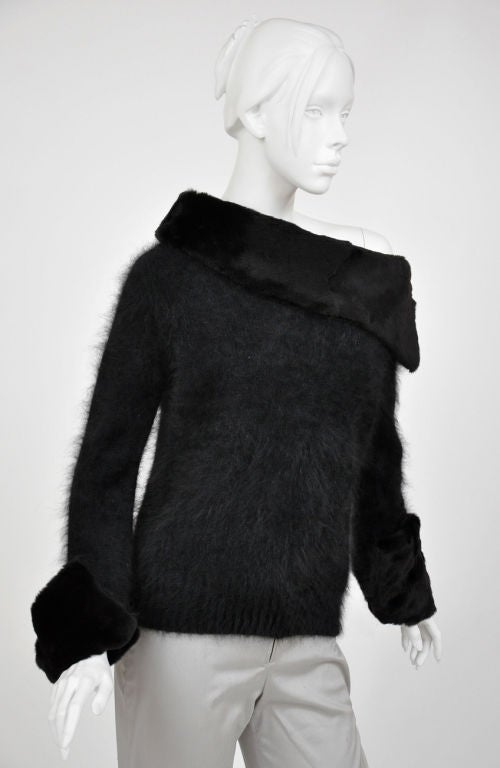 Tom Ford for Gucci Black Angora and Mink Fur Sweater 3
