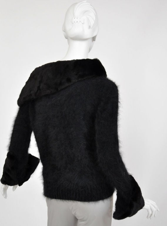 Tom Ford for Gucci Black Angora and Mink Fur Sweater 5