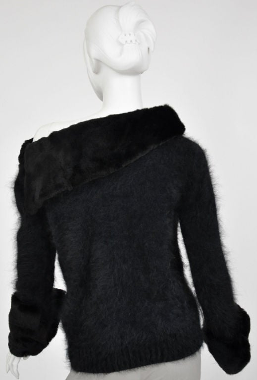 Tom Ford for Gucci Black Angora and Mink Fur Sweater 6