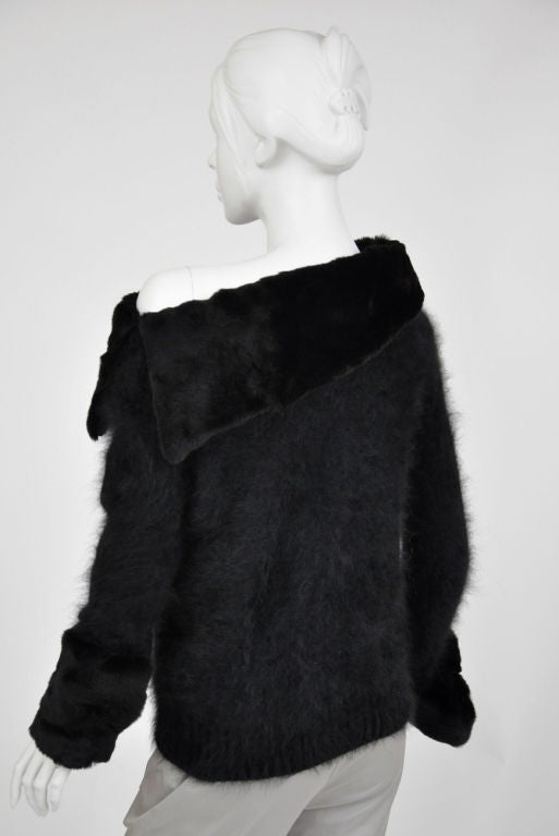 Tom Ford for Gucci Black Angora and Mink Fur Sweater 7