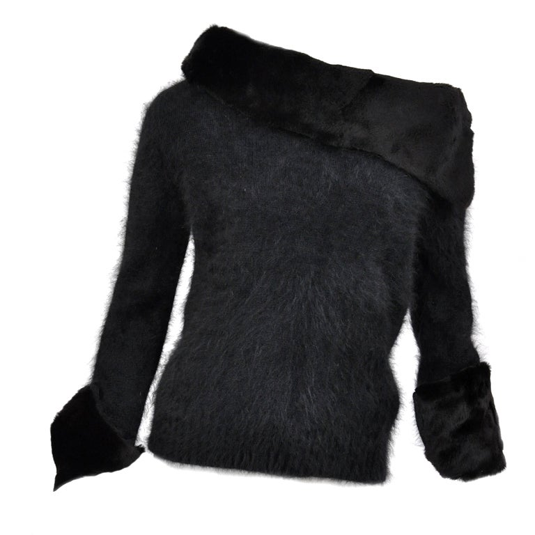 Tom Ford for Gucci Black Angora and Mink Fur Sweater 1
