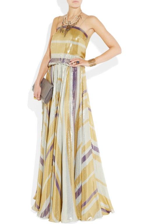 $8,340 New LANVIN Striped silk-blend lame gown 2