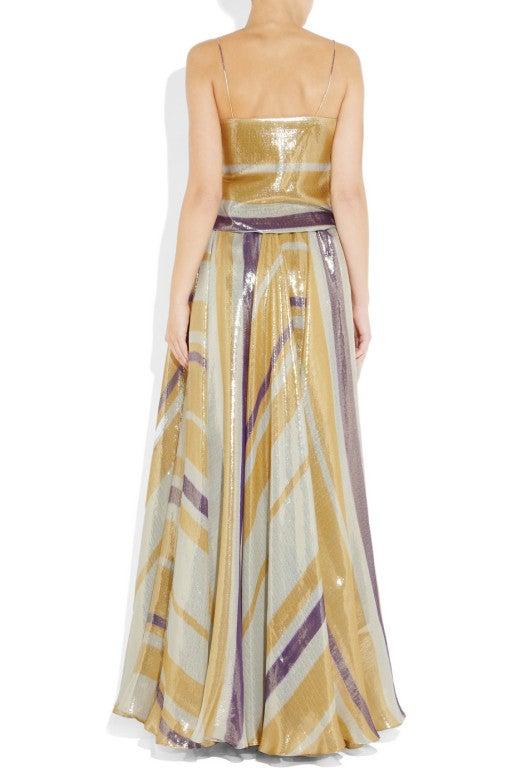 $8,340 New LANVIN Striped silk-blend lame gown 3