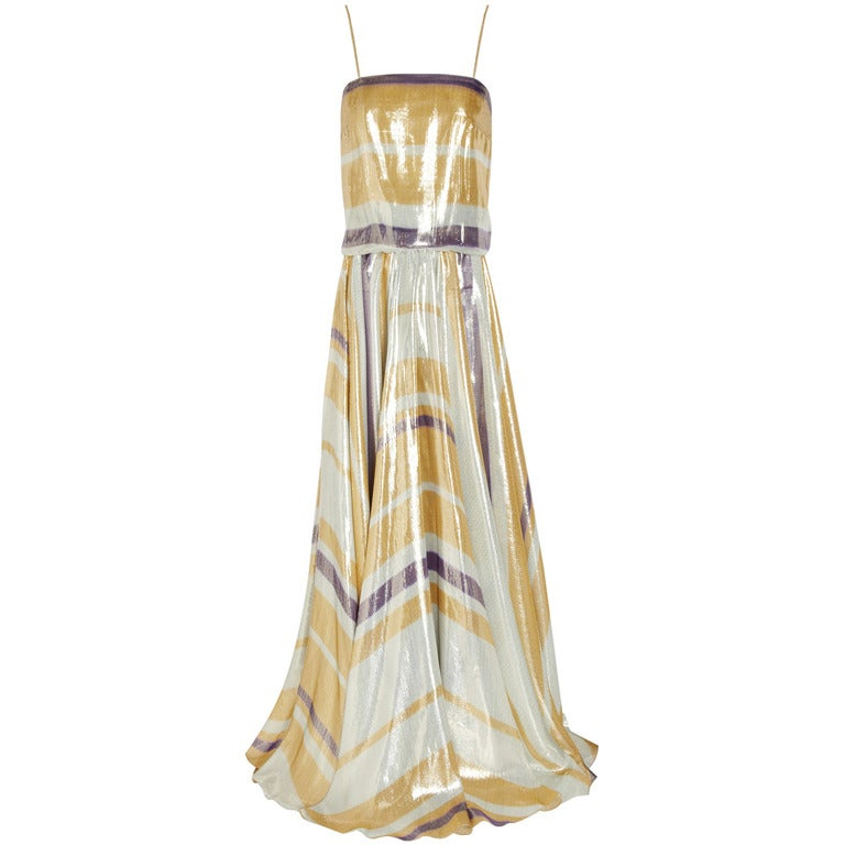 $8,340 New LANVIN Striped silk-blend lame gown 1