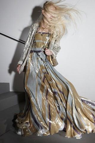 $8,340 New LANVIN Striped silk-blend lame gown 5