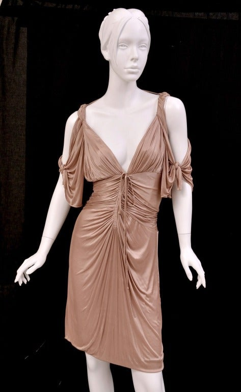Rare GUCCI Nude Mini Kimono Dress   Italy   S/S 2003 Gucci collection   Designed by Tom Ford   Unique, Rare and Highly Collectible!    Beautifully crafted and guaranteed to turn heads.   Size 44 - US 8    Very stretchy.   Excellent, pre-owned