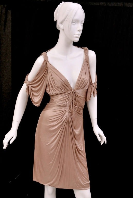 Brown S/S 2003 COLLECTIBLE TOM FORD for GUCCI NUDE KIMONO DRESS For Sale