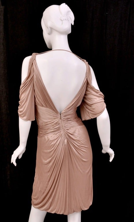 S/S 2003 COLLECTIBLE TOM FORD for GUCCI NUDE KIMONO DRESS In Excellent Condition For Sale In Montgomery, TX