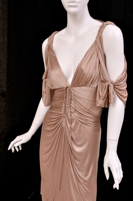 S/S 2003 COLLECTIBLE TOM FORD for GUCCI NUDE KIMONO DRESS For Sale 1