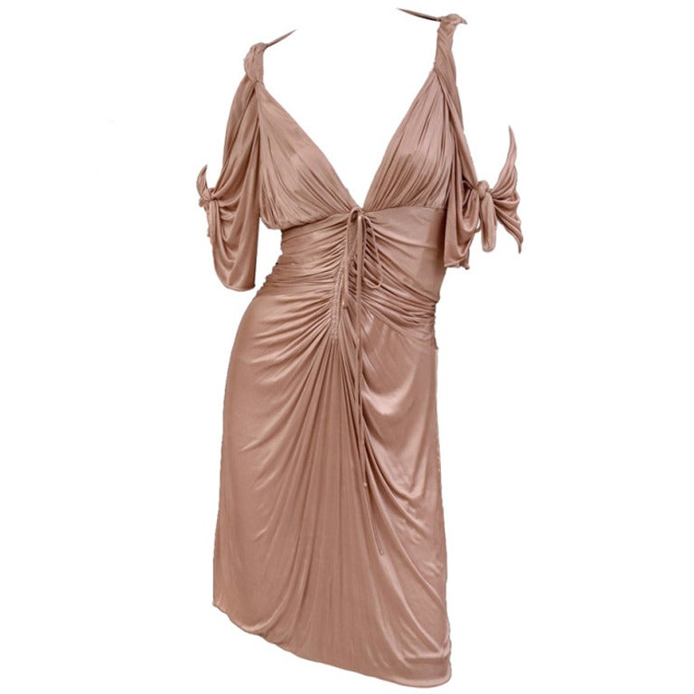 S/S 2003 COLLECTIBLE TOM FORD for GUCCI NUDE KIMONO DRESS For Sale