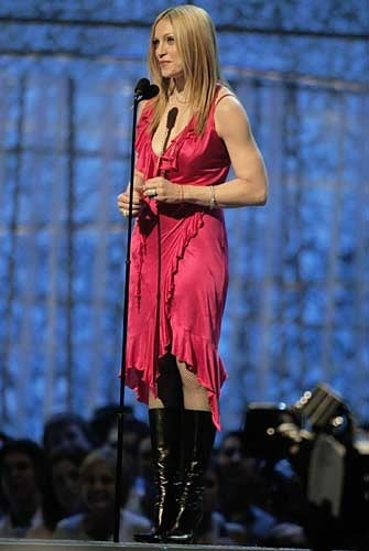 Red VERSACE STRETCH JERSEY WARP DRESS MADONNA WORE for THE GRAMMY'S For Sale