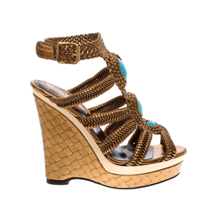 Roberto Cavalli nappa laminated wedge embellished with stones For Sale