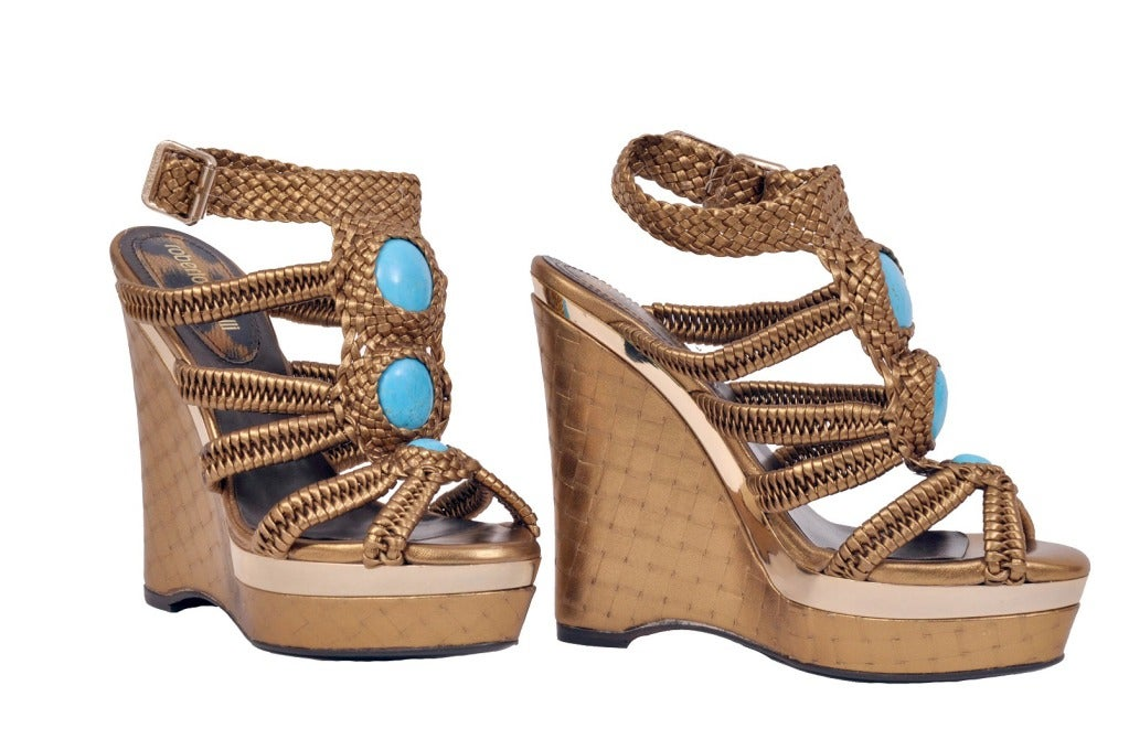 Roberto Cavalli nappa laminated wedge embellished with stones  Retail price is $1,775  Brand new, in the box  Sizes: 36.5
