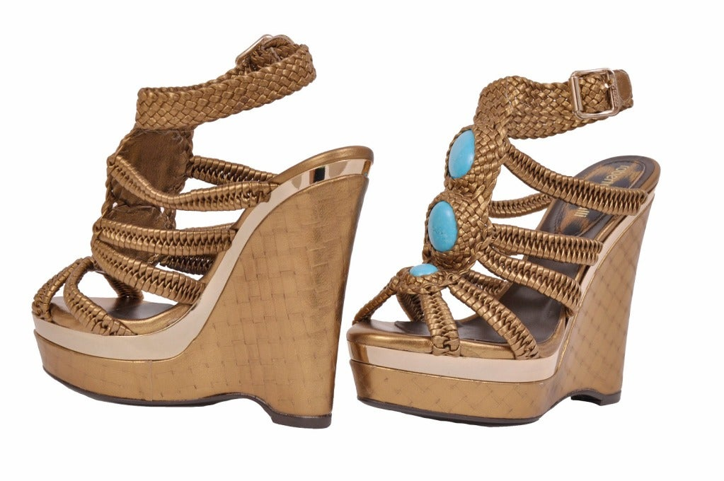 Brown Roberto Cavalli nappa laminated wedge embellished with stones For Sale