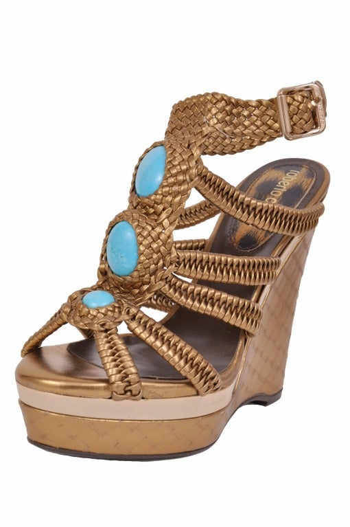 Women's Roberto Cavalli nappa laminated wedge embellished with stones For Sale
